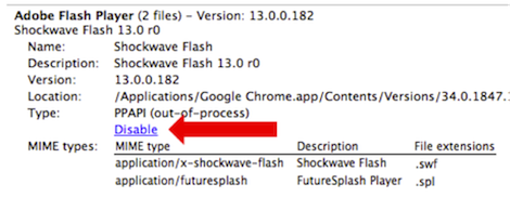 disattivare flash google chrome