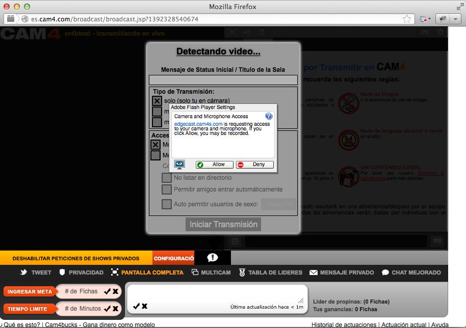 Cam4 flash player permitir webcam