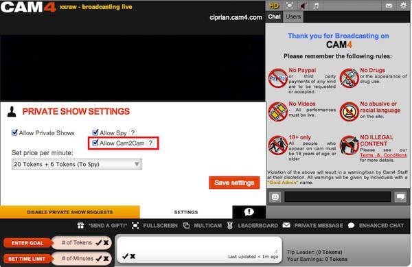 cam2cam settings