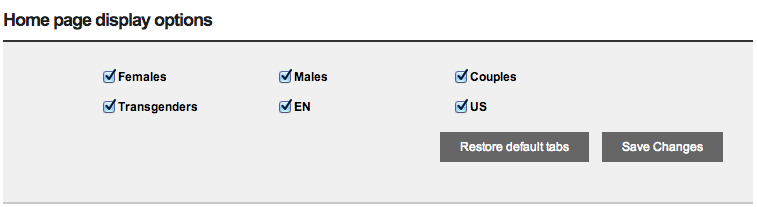 Home Page Display Options